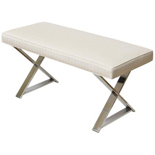 Milo Baughman X Frame Polished Chrome and Upholstered Bench For Sale