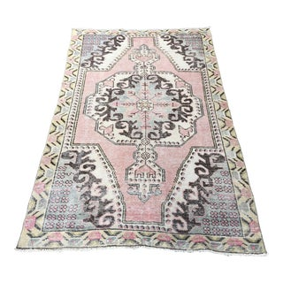 Vintage Turkish Pink Handmade Wool Rug-4′3″ × 6′11″ For Sale