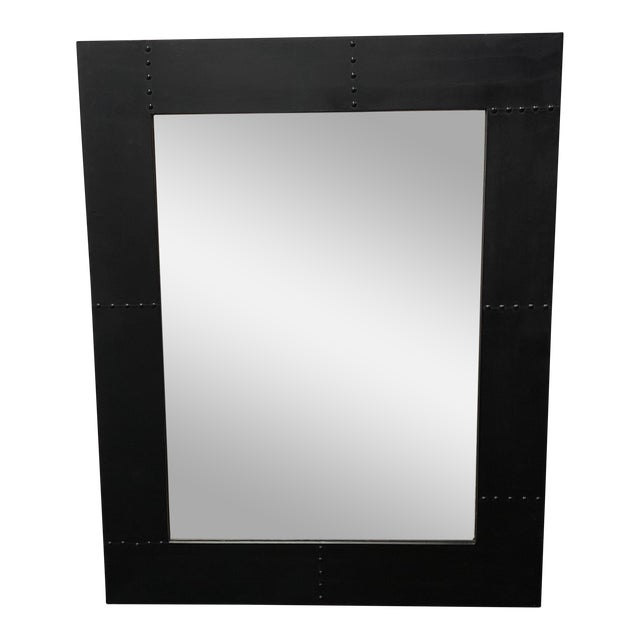 Rustic Style Wood + Metal Wall Mirror For Sale