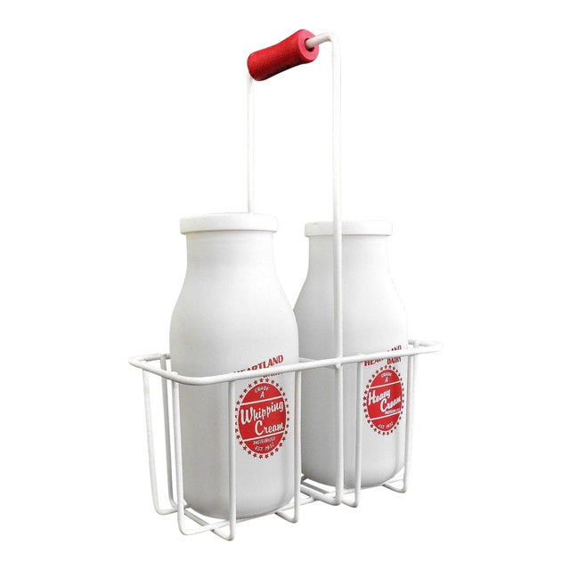 Retro White Glass Cream Bottles and Metal Carrier - Image 1 of 10