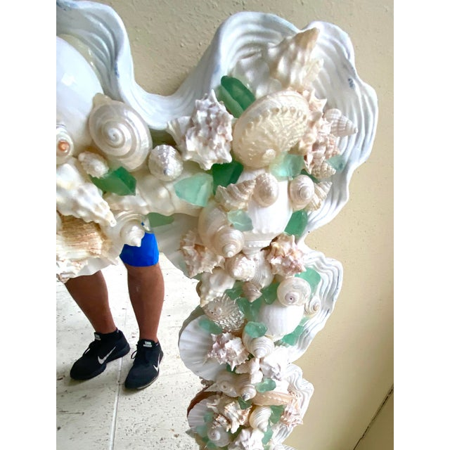 Alabaster Contemporary Coastal Custom Shell and Sea Glass Mirror For Sale - Image 8 of 10