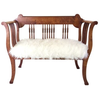 Vintage Carved Wood Faux Sheepskin Love Seat Bench For Sale