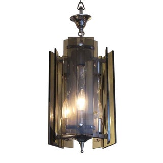 Rectangular Black Smokey Glass Pendant Light Fixture For Sale