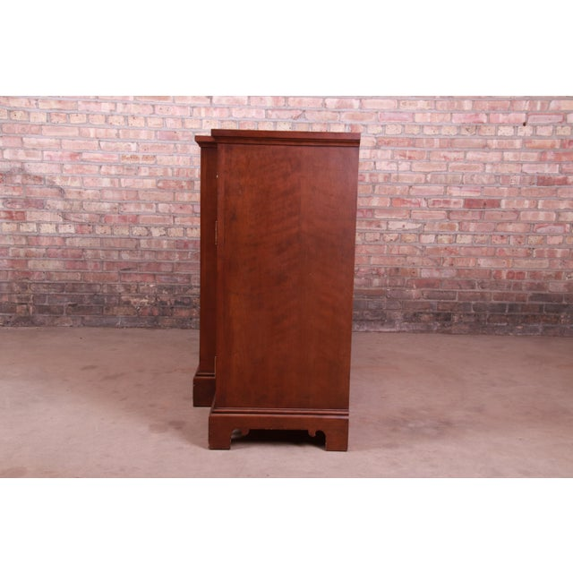 French Provincial Solid Mahogany Marble Top Sideboard Credenza Attributed to Grange For Sale - Image 12 of 13