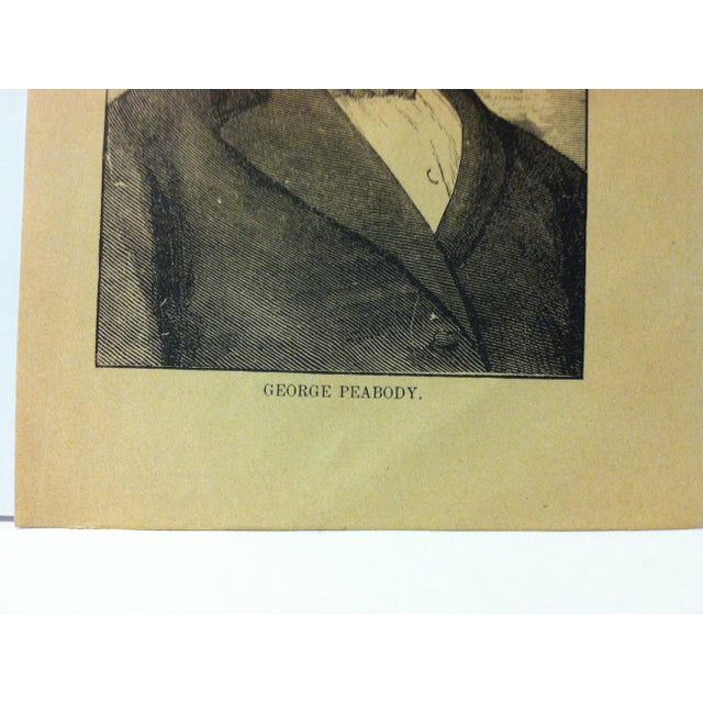 """Portraiture 1880 """"George Peabody"""" Successful Self-Made Men Print on Paper For Sale - Image 3 of 4"""
