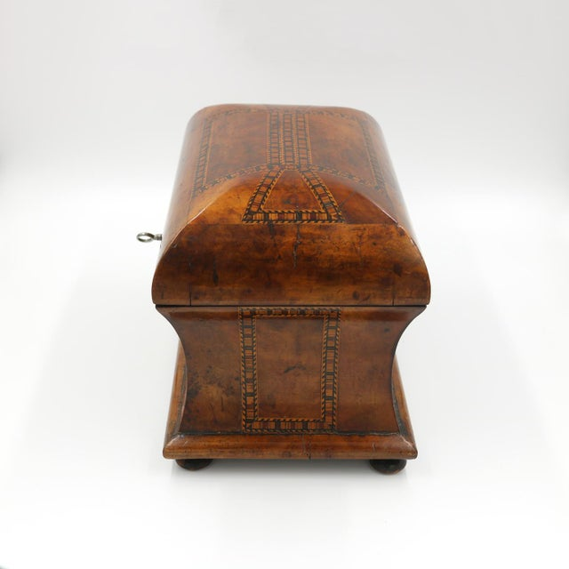 English Mid 19th Century Vintage English Fully-Fitted Walnut Tea Caddy For Sale - Image 3 of 10