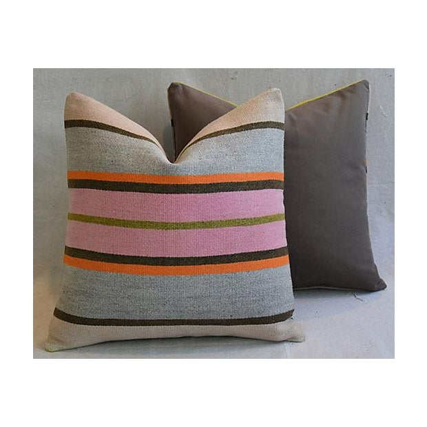"20"" Custom Tailored Anatolian Turkish Kilim Wool Feather/Down Pillows - a Pair - Image 8 of 11"