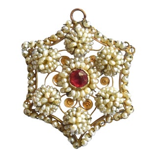 Georgian Seed Pearl Pendant For Sale