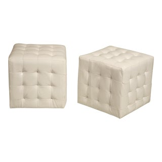 White Patent Leather Cube Ottomans - a Pair