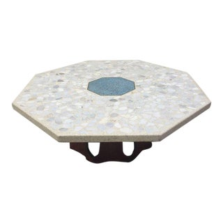 1960's Harvey Probber Octagonal Travertine & Terrazzo Coffee Table For Sale