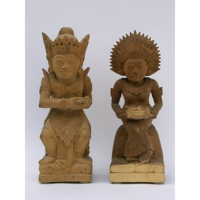 Hand-Carved Wood Balinese Statues - A Pair - Image 2 of 5