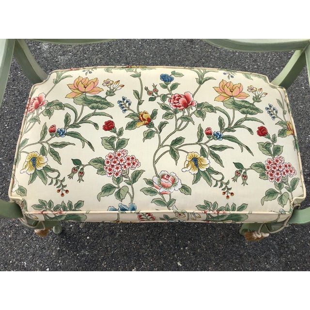 **Final Price** Antique Green French Provincial Carved Wood Small Bench Settee For Sale - Image 6 of 11