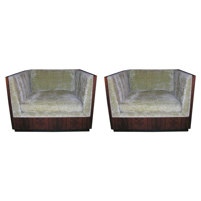 Milo Baughman Rosewood Cube Club Chairs - a Pair For Sale - Image 9 of 9