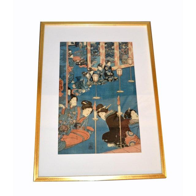 Utagawa Kuniyoshi Japanese Original Gilt Framed Woodcut Print on Paper C. 1845 For Sale - Image 11 of 11