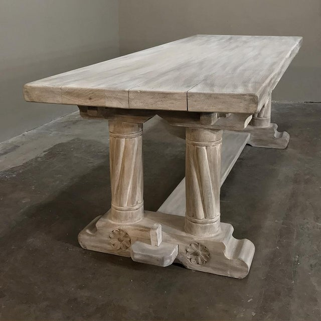 Mid 19th Century Antique Rustic Gothic Stripped Oak Dining Table For Sale - Image 5 of 8