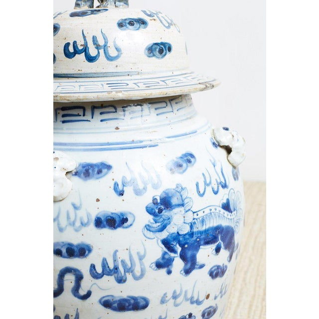 Pair of Chinese Blue and White Ginger Jars and Foo Dogs For Sale - Image 4 of 13