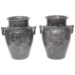 Mid-Century Glazed American Black and Gray Pottery Urns Planters - a Pair For Sale