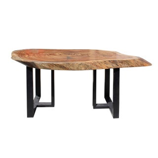 Raw Wood Plank Uneven Shape Metal Base Desk For Sale