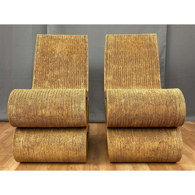Paper Pair of Early Frank Gehry Easy Edges Wiggle Side Chairs, 1972 For Sale - Image 7 of 13