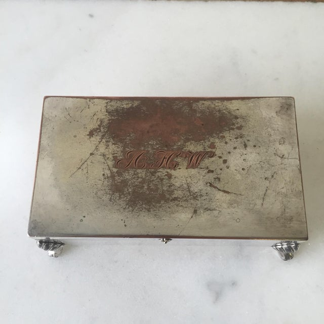 Silverplate Monogrammed Claw-Foot Cigarette Box - Image 4 of 6
