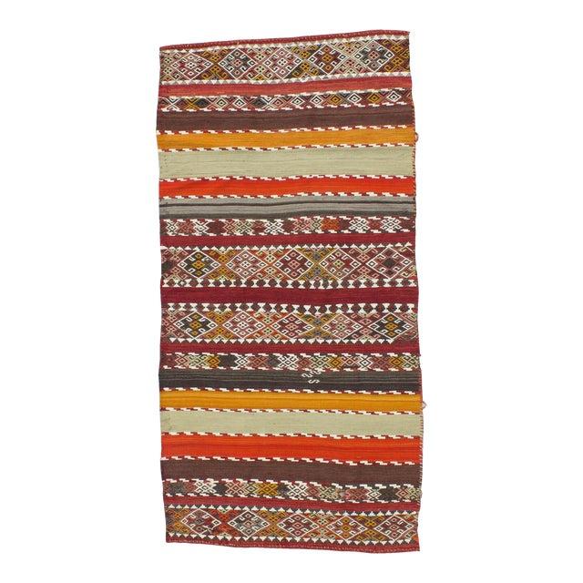 Antique Turkish Kilim Striped Embroidered Rug - 3′4″ × 6′9″ For Sale
