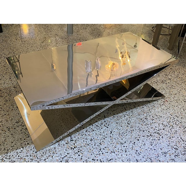 Metal X Base Cocktail Table Polished Nickel Plated Italian Modern For Sale - Image 7 of 11