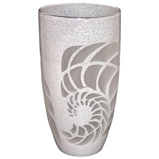 White Textured Murano Glass Vase With Fern Decor For Sale