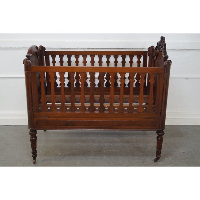 Antique Walnut American Renaissance Baby/Doll Crib For Sale - Image 4 of 10