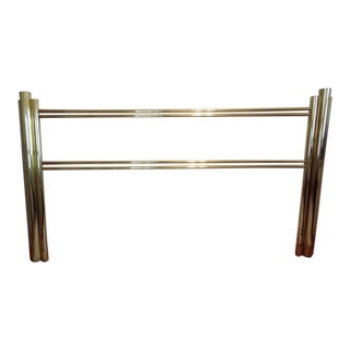 20th Century Art Deco Style Brass Skyscraper King Size Headboard and Footboard For Sale