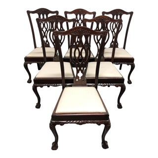 19th Century English Mahogany Chippendale Ball in Claw Dining Chairs - Set of 6 For Sale