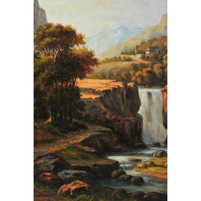 "19th c. Hudson River School ""Waterfall landscape"" oil painting by Anderson. A beautiful piece that will add to your décor!"