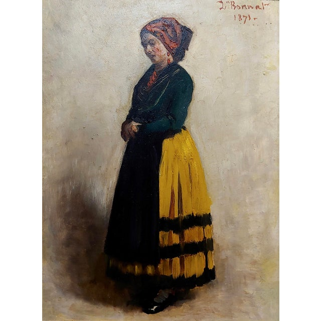French Leon Bonnet -19th Century Portrait of an Italian Woman-Oil Painting 1871 For Sale - Image 3 of 10