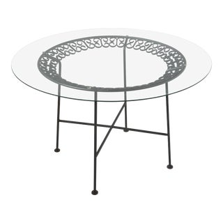 1950s Mid-Century Modern Arthur Umanoff for Shaver Howard Wrought Iron Patio Dining Table For Sale