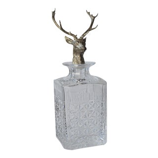 Cut Crystal Decanter With Stag Head Finial
