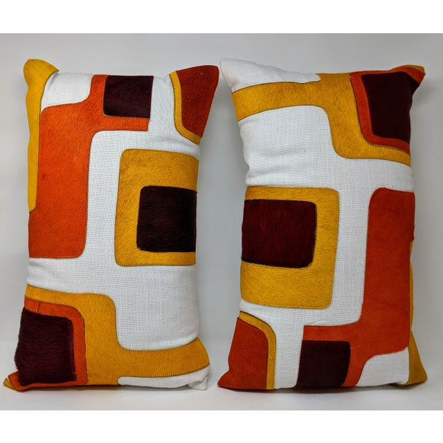 Early 21st Century Linen and Cowhide Rectangular Pillow For Sale - Image 5 of 8