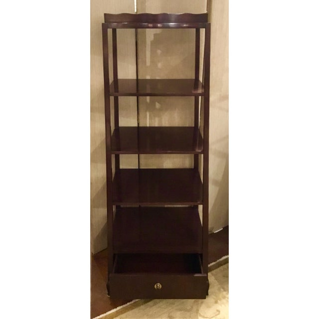 Magnificent, tapered Elegant Etagere, finished in a rich walnut with one drawer and railroad nickel hardware, Barbara...
