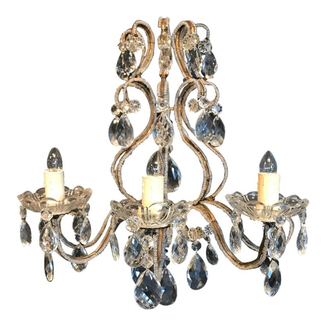 Italian Beaded Gold Leaf Sconce For Sale