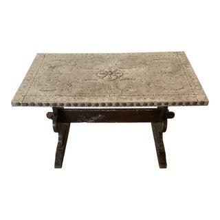 Hammered Metal Vintage Spanish Table For Sale