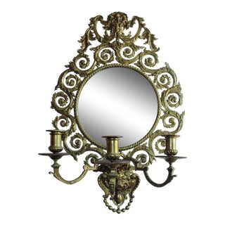 19th C. Antique Victorian Brass Mirror Wall Sconce For Sale