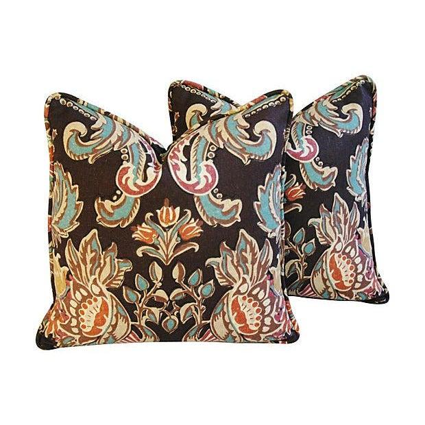 Designer Kravet Lutron Espresso Pillows - A Pair - Image 1 of 6
