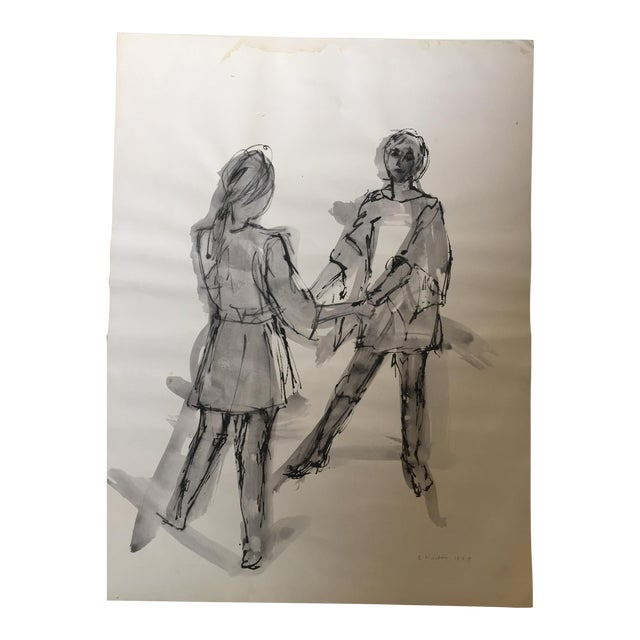 Mid Century Original Watercolor Painting 2Figures For Sale