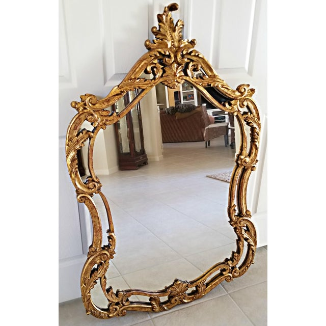 Baroque Italian Baroque Style Carved Giltwood Mirror, Mid-19th Century For Sale - Image 3 of 11