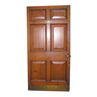 Vintage Knotty Pine Wide Raised Panel Door For Sale