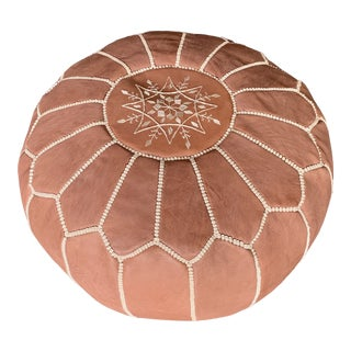 Early 21st Century Moroccan Leather Pouf Ottoman For Sale