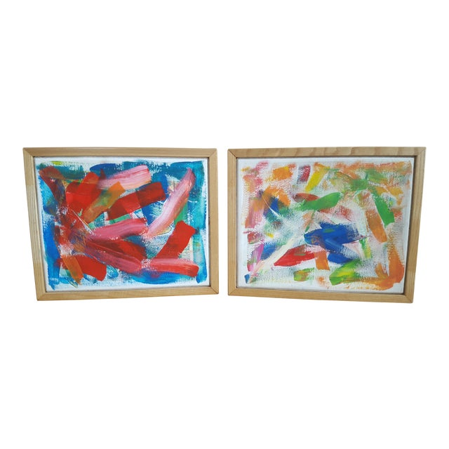 A Pair- Original Abstract Acrylic Paintings in Cubed Wooden Frames For Sale