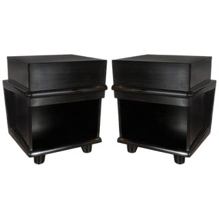 Pair of Sculptural Mid-Century Modern Ebonized Walnut Nightstands/ End Tables For Sale