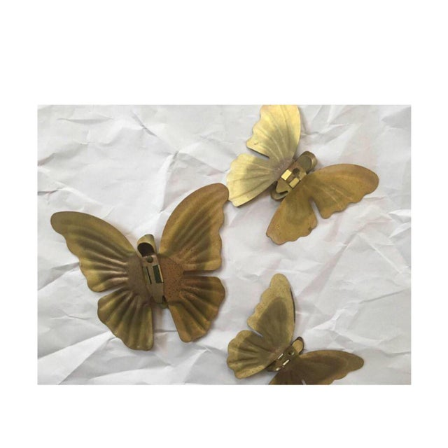 Vintage Brass Butterflies - Set of 3 - Image 2 of 3