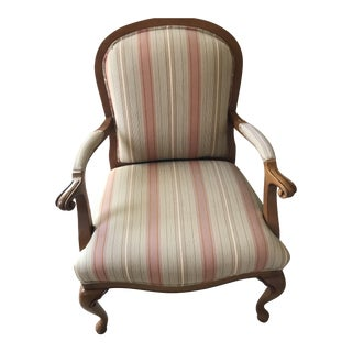 Nutmeg Carved Wood Upholstered Arm Chair