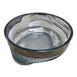 Image of 1940s Art Deco Light Blue and Silver Glass Bowl For Sale
