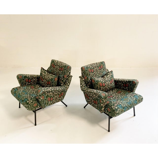 Feather C. 1955 French Lounge Chairs in William Morris Blackthorn, Pair For Sale - Image 7 of 12
